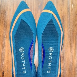Rothy's Retired Teal Neon Stripe 9.5 EUC